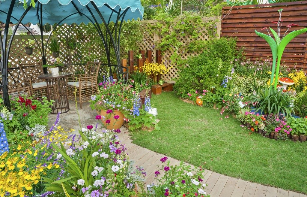 Landscaped garden with furnitures