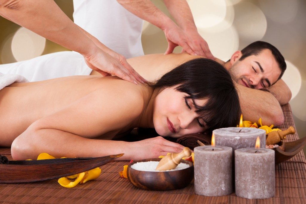 Couple getting a massage