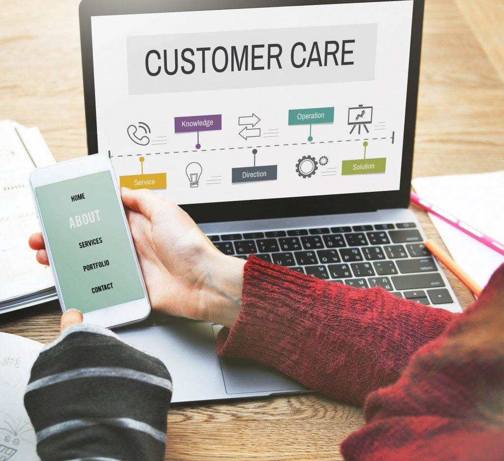 Customer care page in laptop