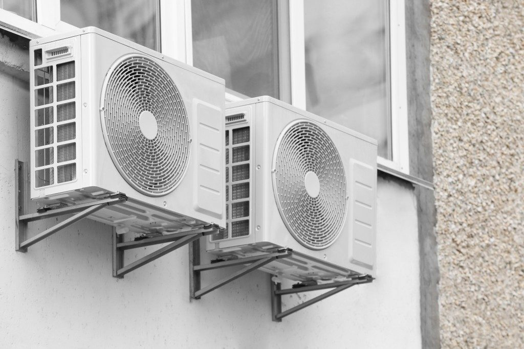 ventilation fans installed on the wall