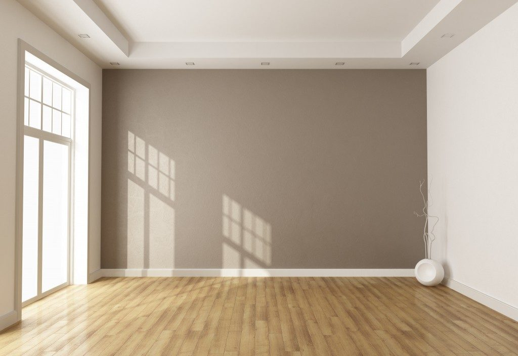 Empty room with beige wall