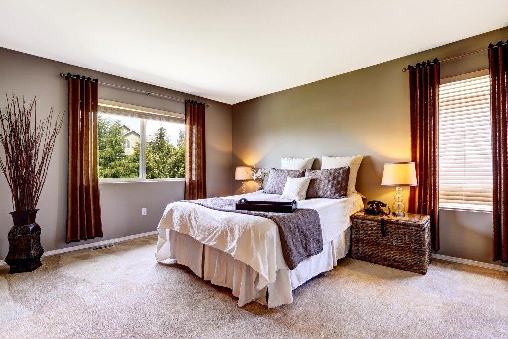 Bedroom interior with carpet floor