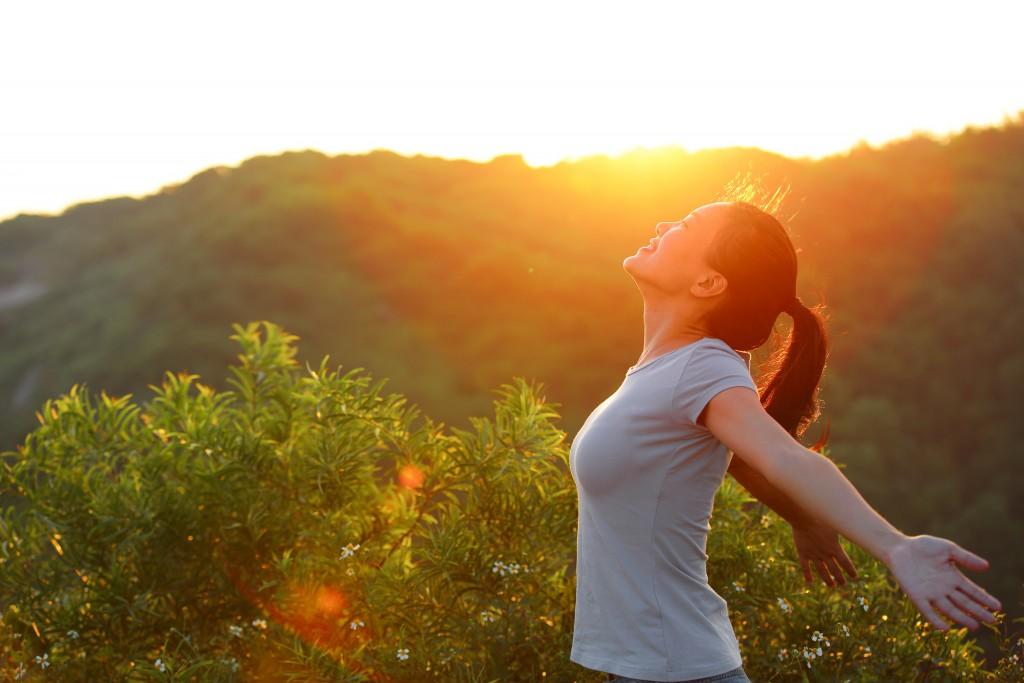 woman feeling happy