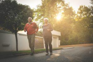senior taking a jog