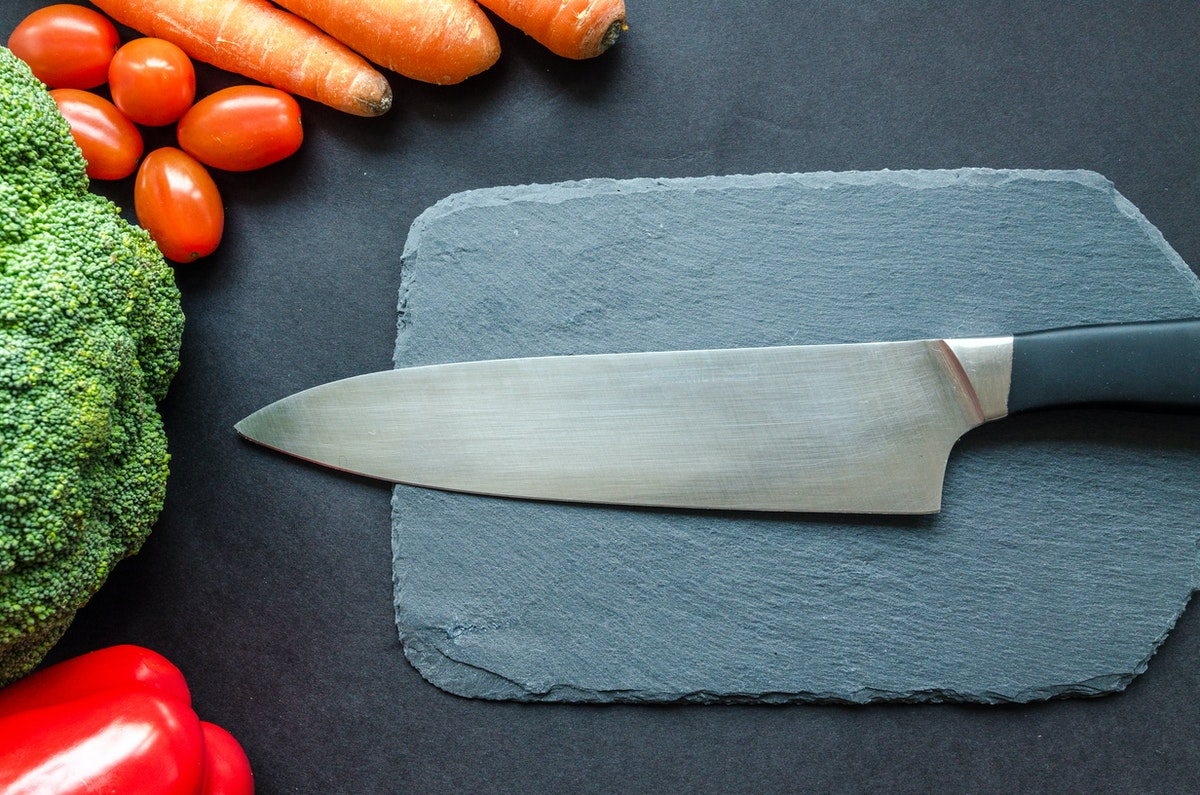 knife and ingredients