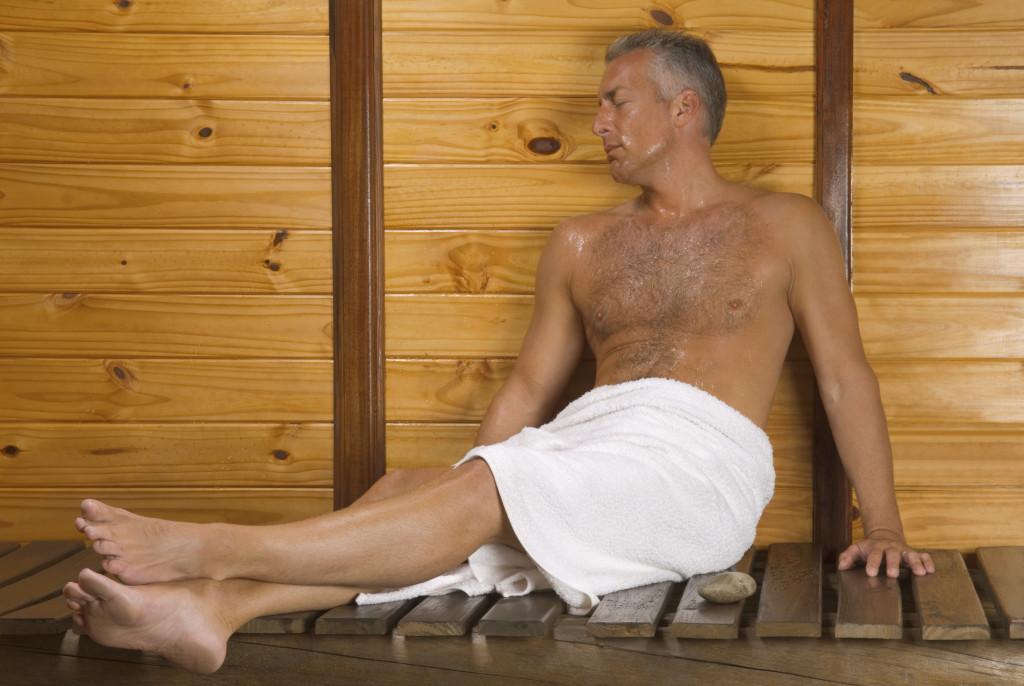 man in a sauna